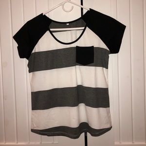 Tops - striped black and white short sleeve shirt
